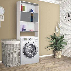 MEUBLE ÉTAGÈRE Meuble étagère dessus wc bois coloris gris