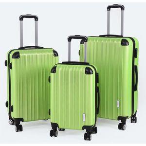 SET DE VALISES 3 valises vertes 8 roues pivotantes
