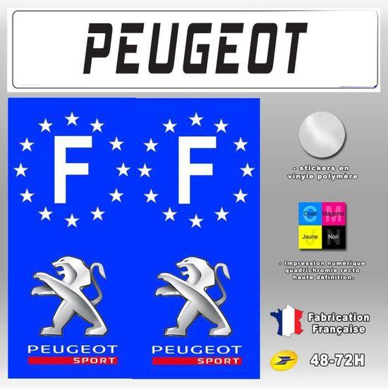 2X Stickers Plaques D/'immatriculation Peugeot Sport Fond Noir 110X45mm