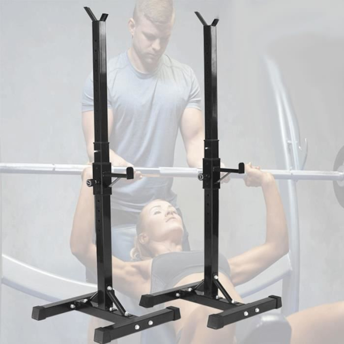 Cage de Squat Supports de Squat Réglable Squat Rack avec Barres de Support Charge Max.200 KG