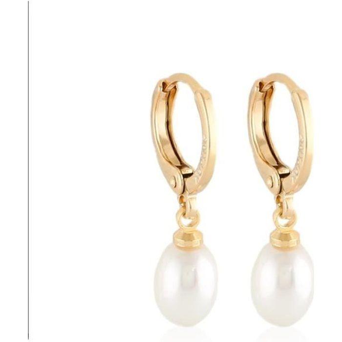 Boucles D'oreille Créole Perle de Nacre Plaqué Or Jaune 750