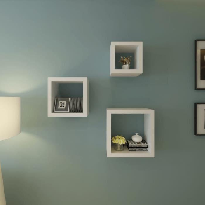 BOI® Etagères Design Murale 3 Cubes blanc