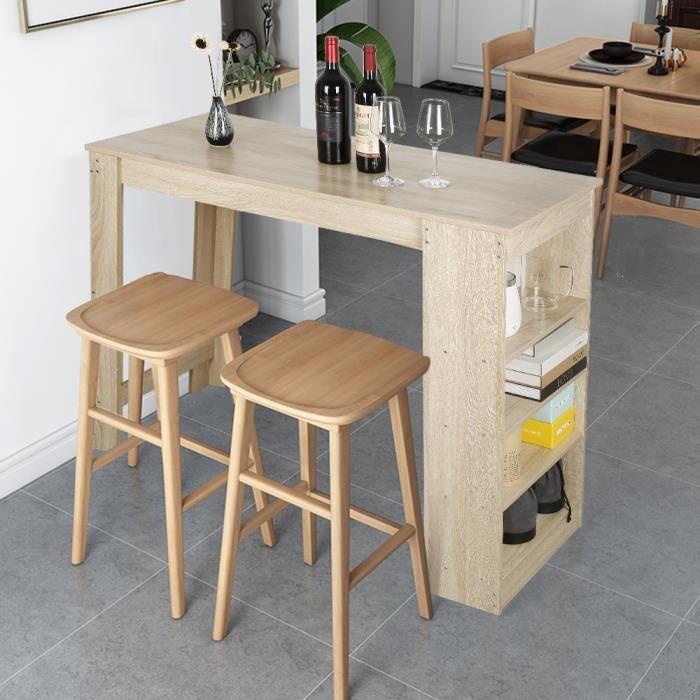 Table Bar Chêne,avec 4 rangements, Mange-Debout Table Haute de Cuisine, style contemporain