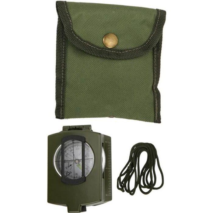 Boussole Compas multifonctionnel américain prismatique lenticulaire de haute précision portatif extérieur (vert armée)
