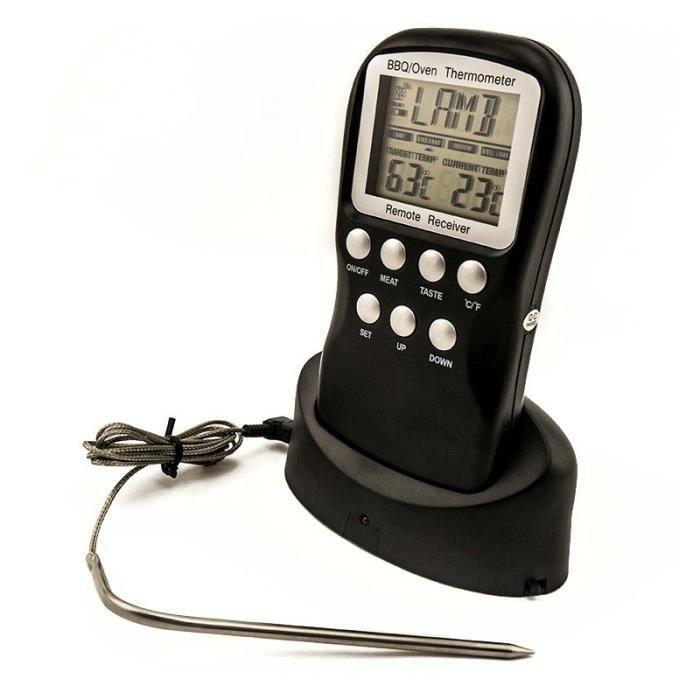 Thermomètre à viande numérique Télécommande sans fil Cuisine sonde alimentaire Thermomètre Minuteur de cuisson BBQ Meat Receiver & T