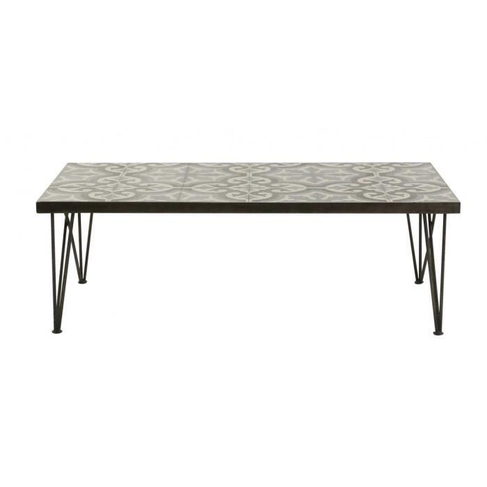 Table basse carreaux de ciment et metal 120 cm Chic