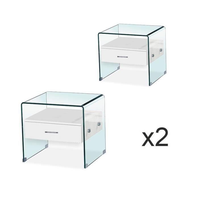 Lot de tables de chevet en verre ELSA Blanc