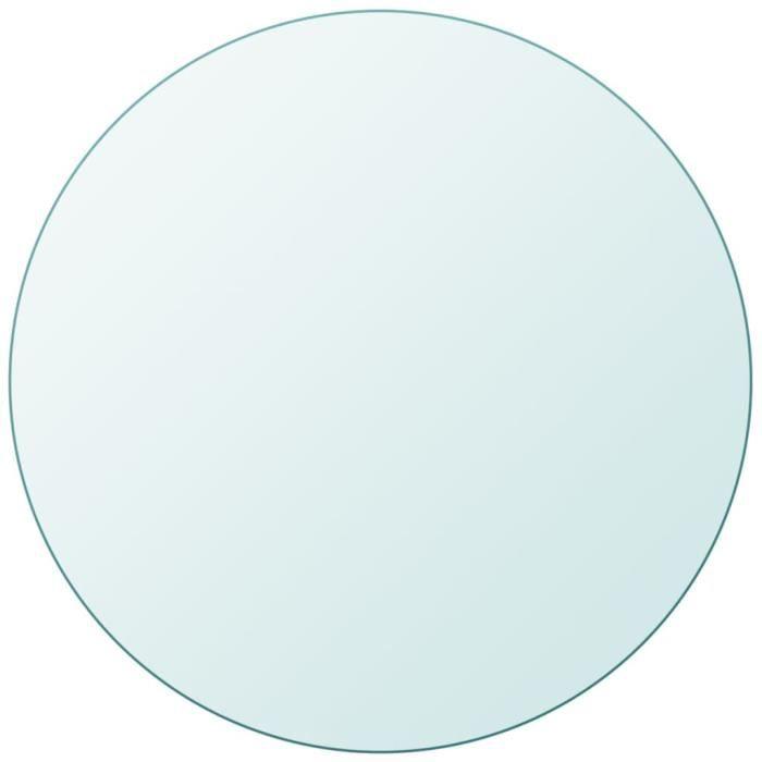 Dessus de table Plateau de table ronde en verre trempé ®CIWWYR®