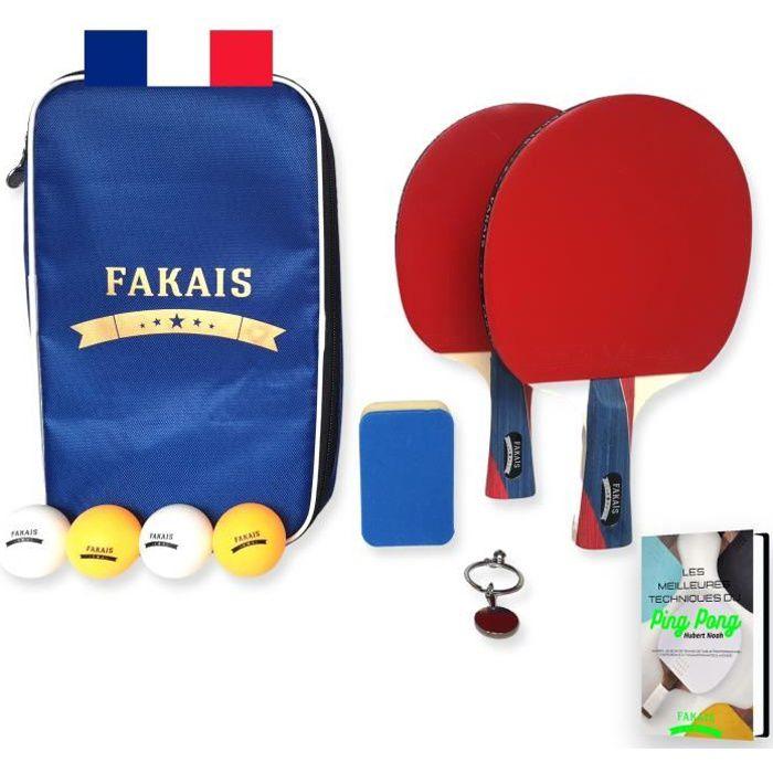 Kit 2 raquettes de ping pong + 4 balles + 1 housse + 1 éponge pour néttoyer les raquettes, Idéal pour jouer à la maison ou en club,