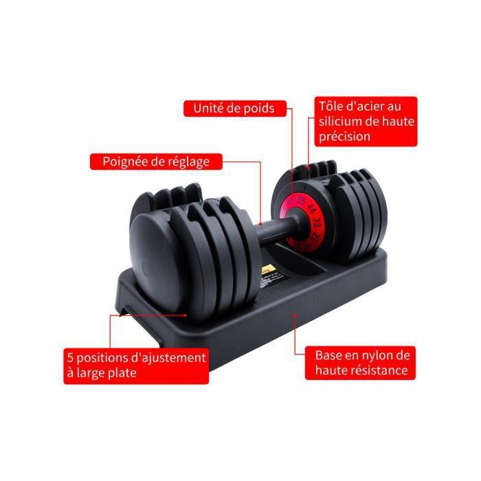 MOYOTEC 55BL/25kg Kit Haltere Musculation Reglable avec Barre de Poids Musculation Haltérophilie domestique gym fitness dumbbell