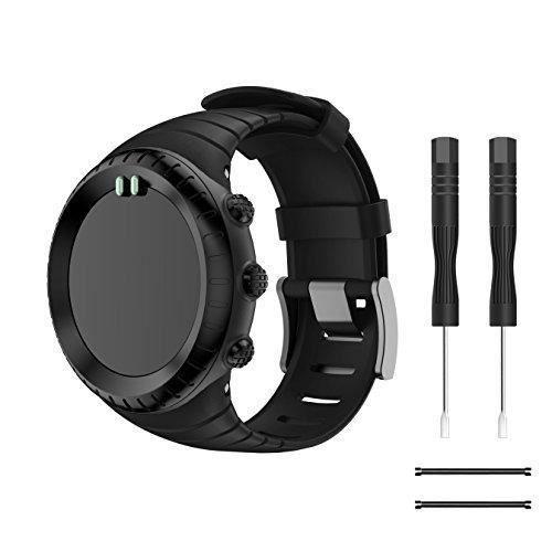 Bracelet Suunto Core, TOPsic Silicone Bracelet de Remplacement Classique avec Fermoir Métal et Boucle Noir pour Suunto Core