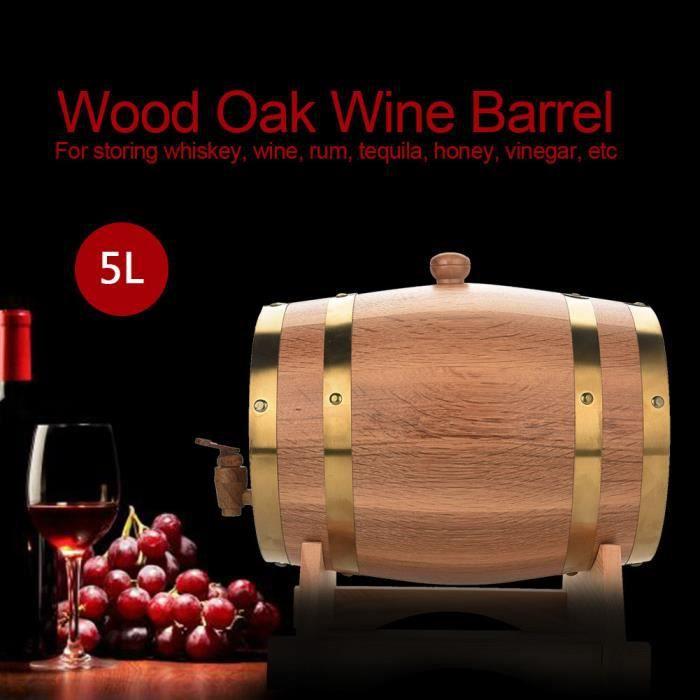 5L Tonneau à vin bois bois chêne vintage pour bière Whisky Rum Port -LAT