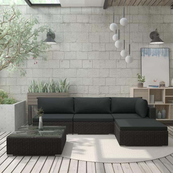 Mobilier de Jardin 5 pcs avec Coussins Salon de Jardin Meuble d'Extérieur Mobilier de Patio Mobilier de Terrasse Résine Tressée Noir