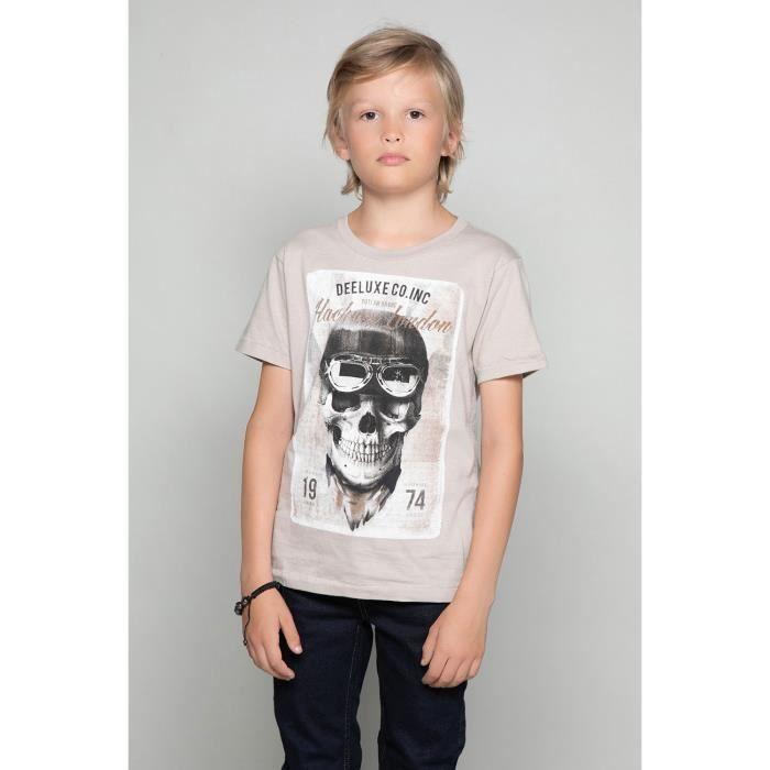DEELUXE T-shirt photo tête de mort CLEM Mastic