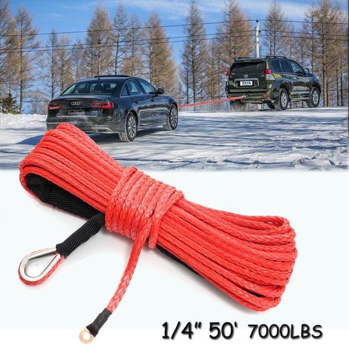 NEUFU 6mmx15m Corde de Treuil Ligne 7000+ LBs Dyneema Synthétique Cable avec Thimble pour ATV SUV Voiture 4x4 Rouge