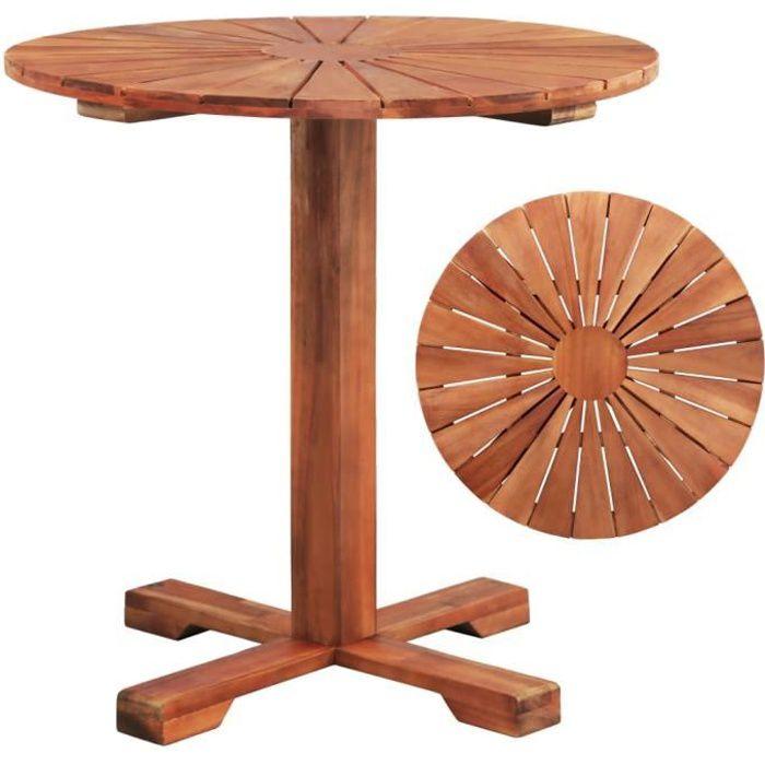 Tables d'extérieur Table sur pied Bois d'acacia massif 70 x 70 cm Rond