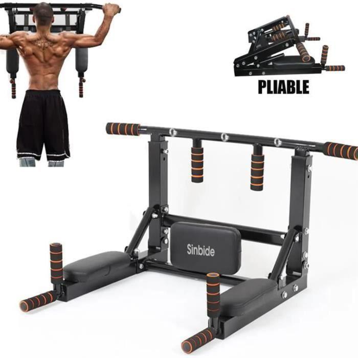 SINBIDE® 2 EN 1 Barres de Traction Murale Barre de Fitness Fixation plafond Exercices Pull Up Bar PLIABLE 150kg