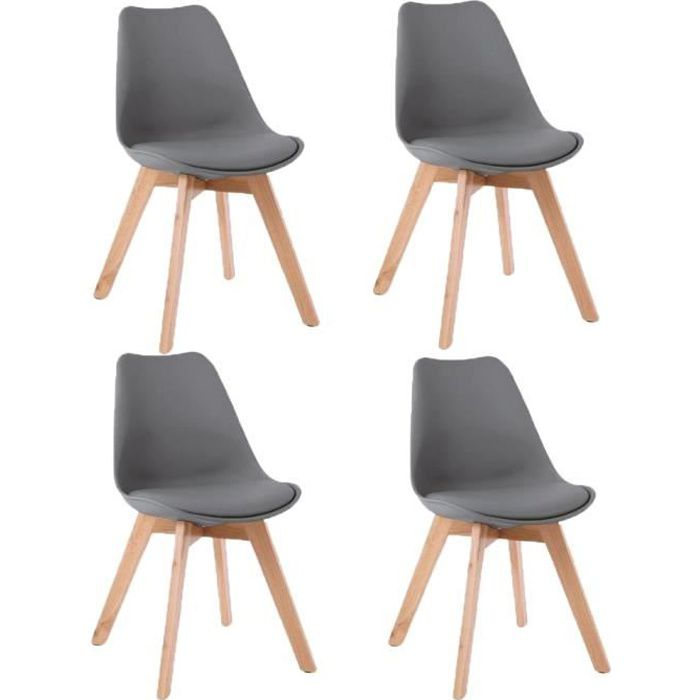 chaise jkk lot de 4 chaises scandinaves coloris gris fonc - Chaise Grise Scandinave
