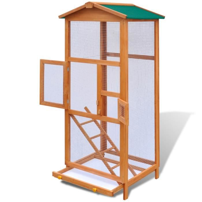 magnifique grande cage d 39 oiseau en bois 2 portes achat vente voli re cage oiseau. Black Bedroom Furniture Sets. Home Design Ideas