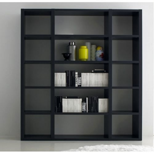 biblioth que contemporaine gris antracithe achat vente meuble tag re biblioth que. Black Bedroom Furniture Sets. Home Design Ideas