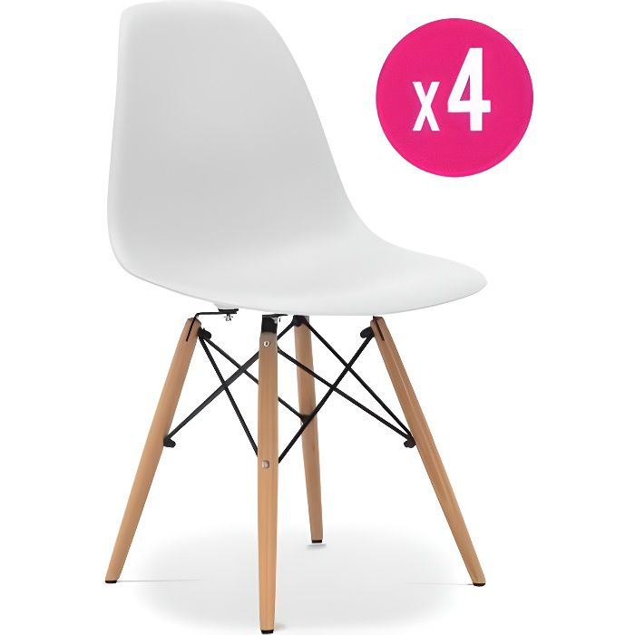 lot de 4 chaises dsw blanches achat vente chaise blanc. Black Bedroom Furniture Sets. Home Design Ideas