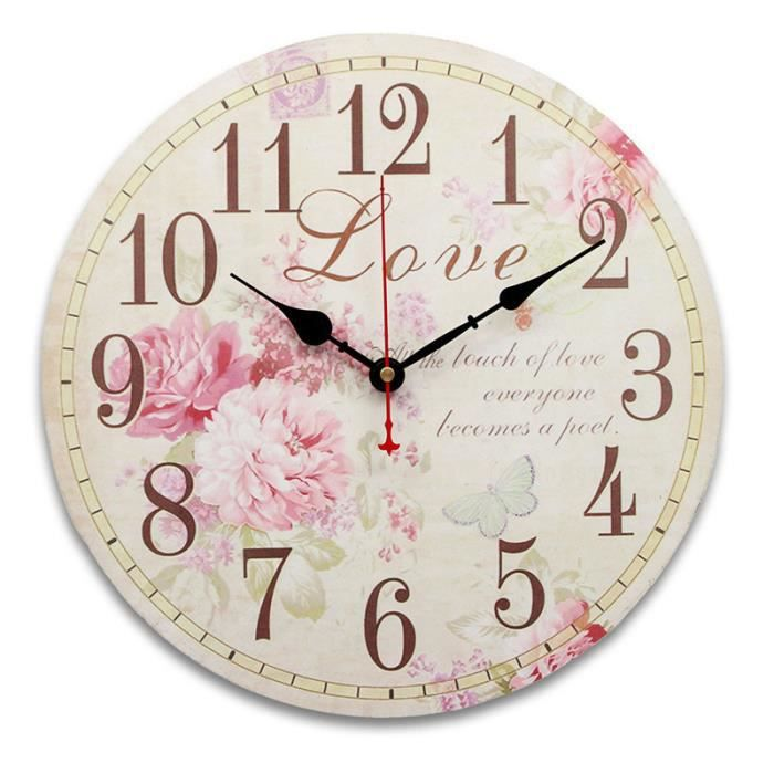 34cm horloge murale rose mdf vintage cuisine antique shabby chic retro accueil type b tu achat. Black Bedroom Furniture Sets. Home Design Ideas