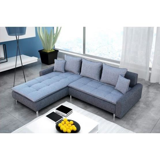Canap angle convertible bennett gris gauche achat vente canap sofa - Cdiscount canape angle ...