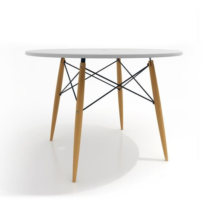 Table design ronde skoll couleur blanc achat vente for Table ronde design 6 personnes