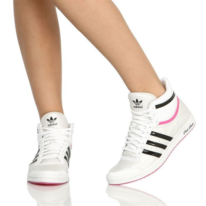 adidas baskets top ten sleek femme femme blanc noir et rose achat vente adidas top ten hi. Black Bedroom Furniture Sets. Home Design Ideas