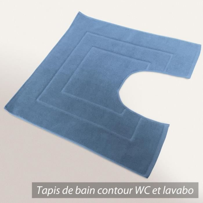 tapis de bain contour wc et lavabo 60x60 cm flair bleu moyen 1500 g m2 achat vente tapis de. Black Bedroom Furniture Sets. Home Design Ideas