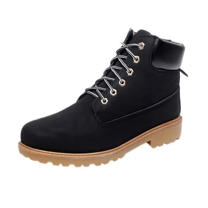 Mode Homme Bottine Martine Boots en Cuir PU Bru...