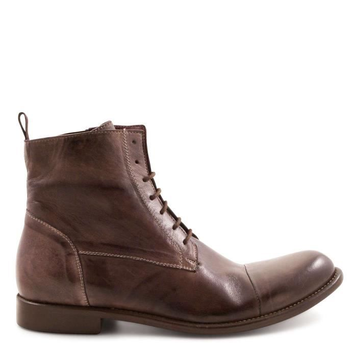 LEONARDO SHOES HOMME 4846BROWN MARRON CUIR BOTTINES Marron Marron - Achat / Vente bottine  - Soldes* dès le 27 juin ! Cdiscount