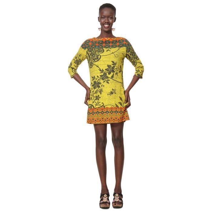 Vetements Femme Robes Desigual Astrid Robe Femme Tissee A Manches 3 4 Jaune Achat Vente Robe Cdiscount