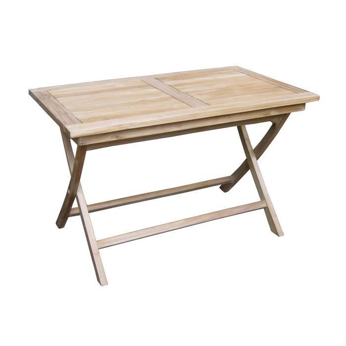 Table pliante pour jardin en bois teck, coloris naturel - Dim : 75 x 120 x  70 cm