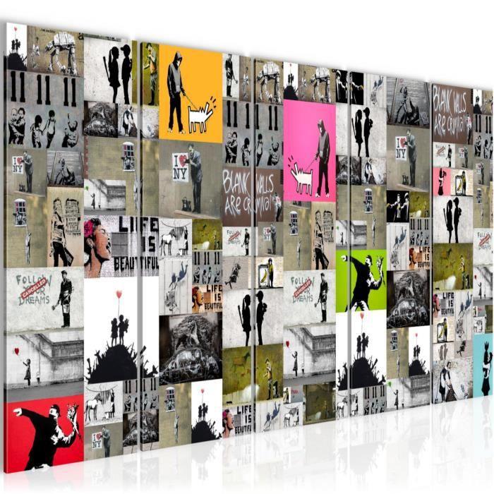 302712b Tableau decoration murale Collage Banksy Street Art pr/êt /à accrocher XXL Impression sur Toile Salon Appartment 1 Parties