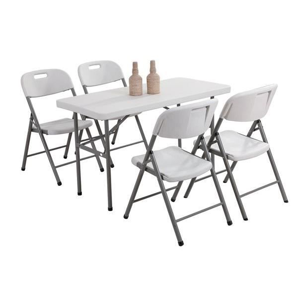 Ensemble table pliante 4 chaises pliantes achat vente salon de jardin e - Table pliante chaises integrees ...