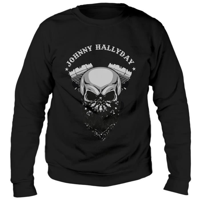 Sweat Biker Johnny Hallyday - Noir