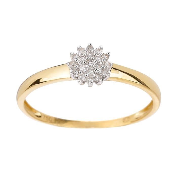 MONTE CARLO STAR Bague Or Jaune 750° et Diamants 0,11 ct Femme