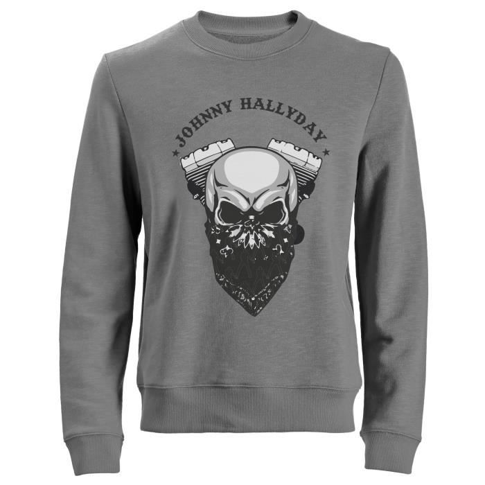 Sweat Biker Johnny Hallyday - Gris