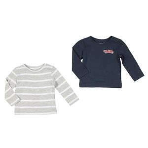 BÉBÉ R?VE Lot de 2 T-shirts Jersey Gris et marron Bébé mixte