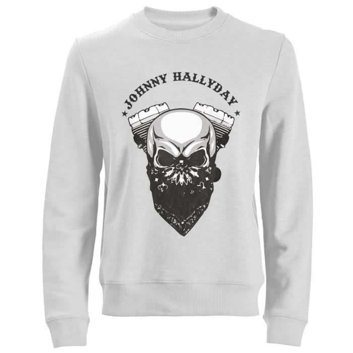 Sweat Biker Johnny Hallyday - Blanc