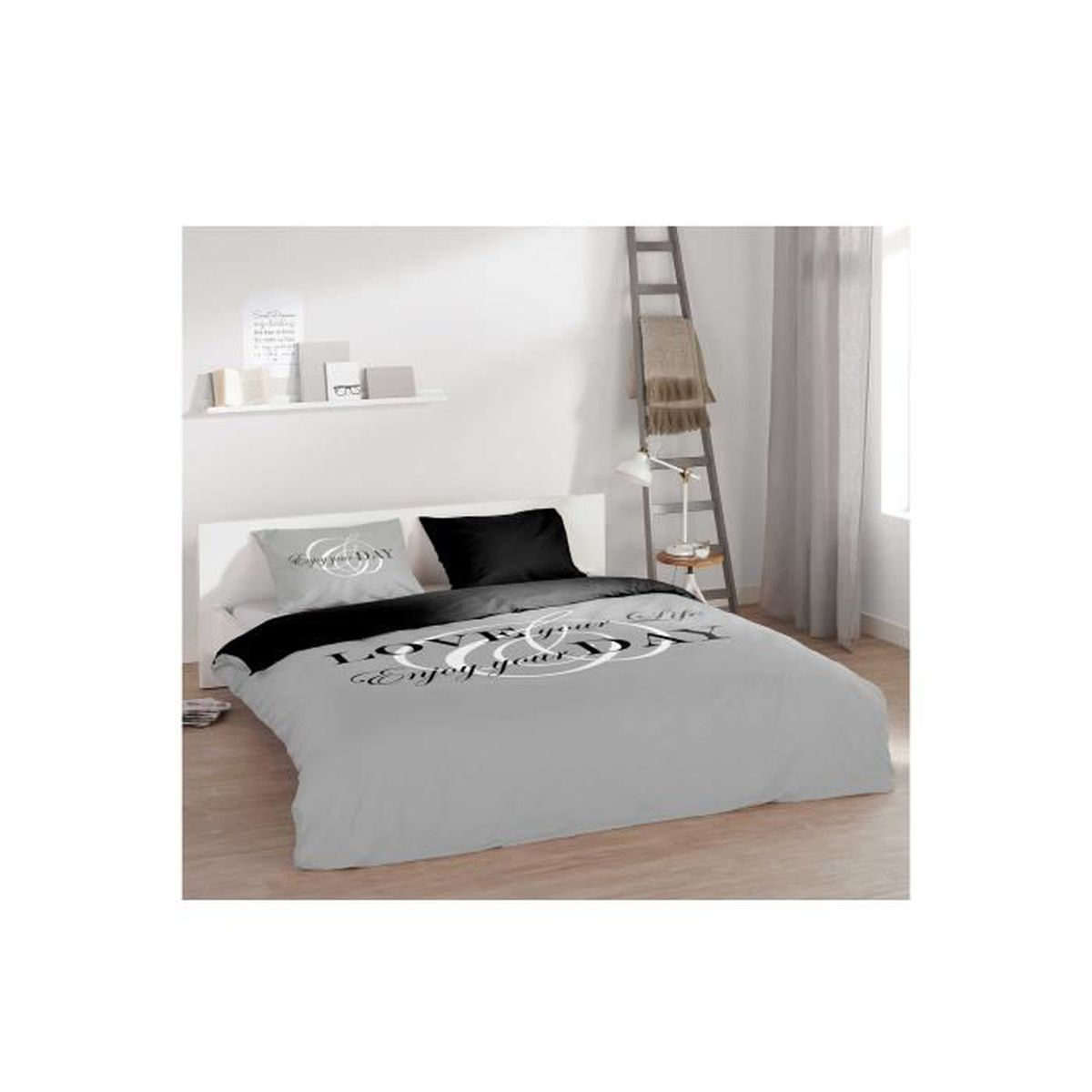 parure housse de couette enjoy achat vente housse de couette cdiscount. Black Bedroom Furniture Sets. Home Design Ideas