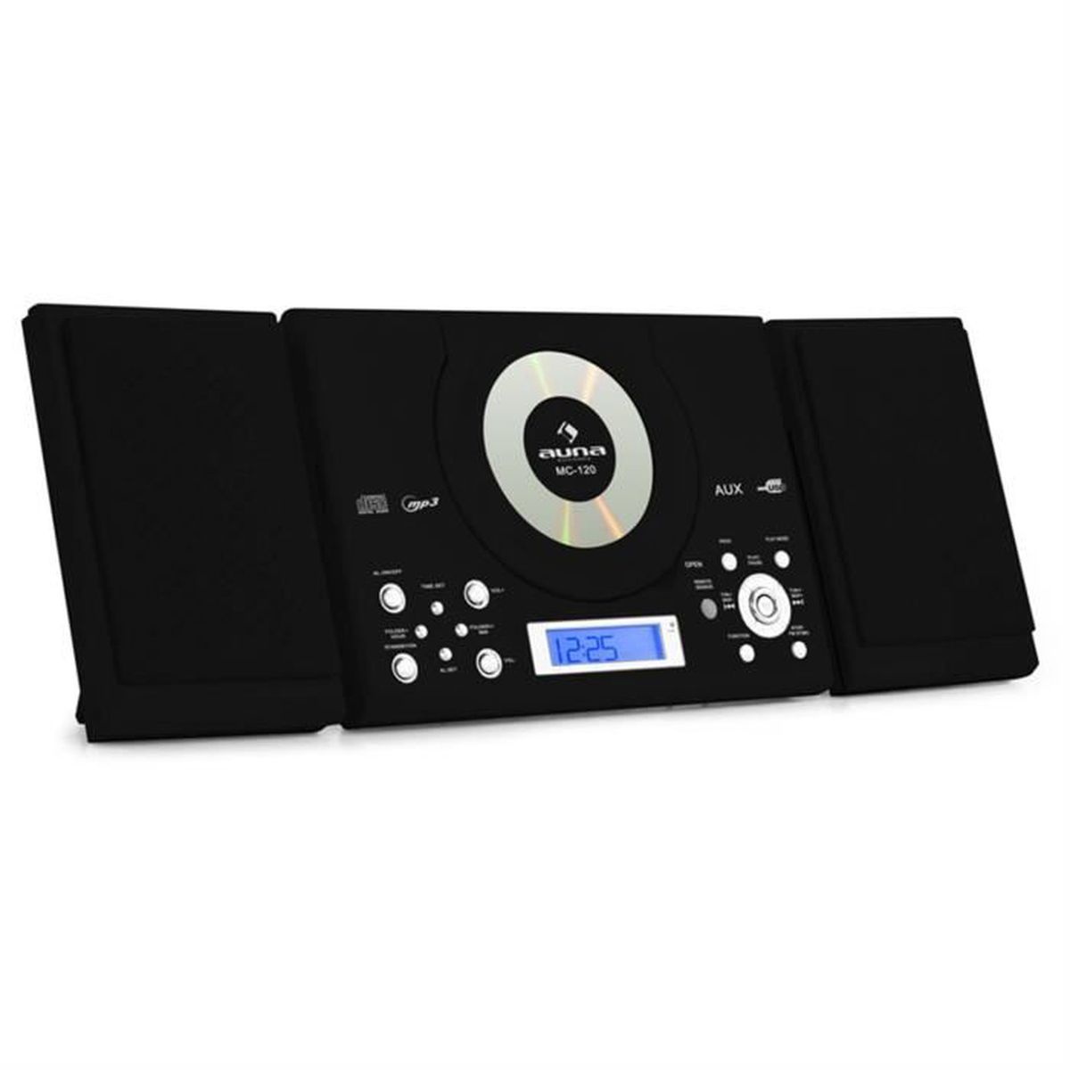 auna mc 120 chaine hifi st r o lecteur mp3 cd usb noir. Black Bedroom Furniture Sets. Home Design Ideas
