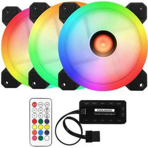 VENTILATION  3PCS LED Ventilateur Ordinateur RGB Refroidisseur