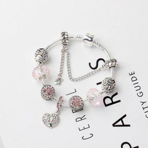 BRACELET - GOURMETTE 18CM Bracelet Charmes de Bijoux Arbre de vie Argen