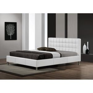 lit cuir blanc 160 200 achat vente lit cuir blanc 160. Black Bedroom Furniture Sets. Home Design Ideas