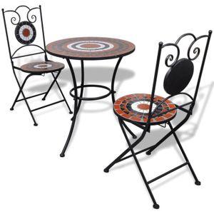 SALON DE JARDIN  Ensemble Table + 2pcs Chaises motif mosaïque pour