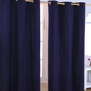 RIDEAU Paire de rideaux à oeillets Uni Bleu marine 100%