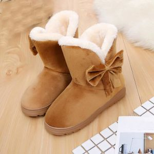 bowknot Flats chauds chaussures neige femmes bottes automne hiver chaussures mode jaune V2ahs