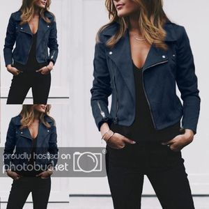 VESTE Manteaux de veste en cuir pour femmes Zip Up Biker